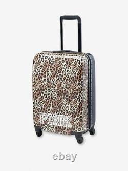 Victorias Secret Pink Hardcase Cheetah Carry On Wheelie Luggage rolling Suitcase