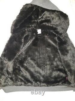 Victorias Secret Pink Hoodie Faux Fur Steelers Bling Sweatshirt M Medium Black