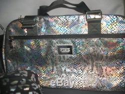 Victorias Secret Pink Iridescent Leopard Bling 3pc travel Wheelie Duffel Bag NWT