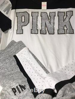 Victorias Secret Pink Jogger Bling RHINESTONES Sweatpants Tee Set S M L NWT