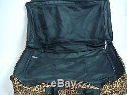 Victorias Secret Pink Large Leopard Luggage Wheelie Suitcase Duffle Bag NWT