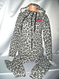 Victorias Secret Pink Leopard Hoodie Fleece One Piece Long Jane Pajamas NWT M