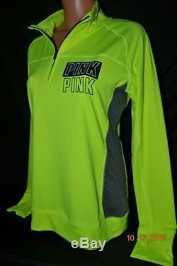 Victorias Secret Pink NEON Ultimate Yoga Half Zip Crew Sweatshirt Pullover NWT L