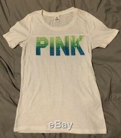 Victorias Secret Pink Neon Rainbow Bling Rhinestone Hoodie Tee Shorts Lg M