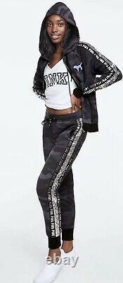 Victorias Secret Pink Perfect Full Zip Hoodie & Pants Set Black Camo Bling M L