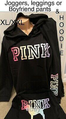 Victorias Secret Pink Pullover Hoodie Sweatshirt & Pants SET XL /XXL NWT