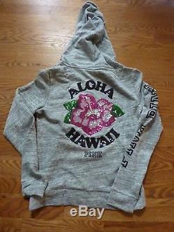 Victorias Secret Pink Rare Marled Bling Hibiscus Aloha Hawaii Zip Hoodie Nwt