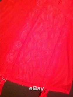 Victorias Secret Pink Satin Red Lace Garter Slip Panty Stockings Set NWT HOT