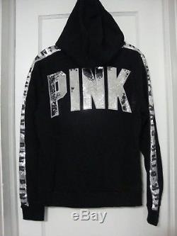 Victorias Secret Pink Sequin Bling Full Zip Hoodie Black Large NWT