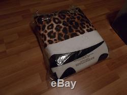 Victorias Secret Pink Sherpa Blanket Black White Leopard Cheetah Colorblock Nip