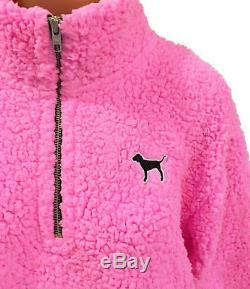 Victorias Secret Pink Sherpa Pullover Boyfriend Quarter Zip Jacket XS S M L XL
