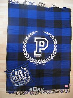 Victorias Secret Pink Stadium Blanket And Bling Pillow Blue Plaid-new