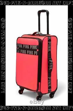 Victorias Secret Pink Suitcase Luggage Wheelie Spinner Neon Coral & Black Logo