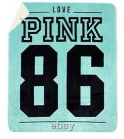Victorias Secret Pink Teal Blue 86 Sherpa XL LIM ED Plush Throw Blanket New