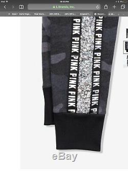 Victorias Secret Pink XL Perfect Full Zip Hoodie & Pants Set Black Camo Bling