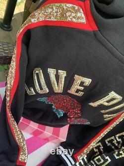 Victorias Secret S Pink Bling Hoodie & Medium Rose Fashion Show Sweats Set 10