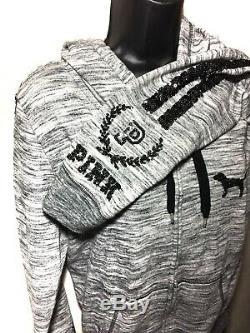 Victorias Secret VS PINK Bling Hoodie Sweatshirt Jacket Marl Gray Size Large