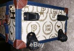 Victorias Secret Vintage PINK 22x14x9 Monogram Luggage RARE Amazing Shape