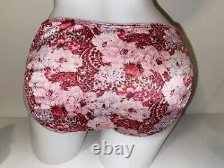 Vintage LOT 2 Victoria Secret Second Skin Satin Blue Pink Floral Brief Panties L