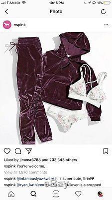Vs Pink Victorias Secret Outfit Set Velvet Maroon Large