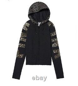 Vs Victorias Secret PINK Perfect Full-Zip Hoodie Sweater Jacket Top Grey Bling