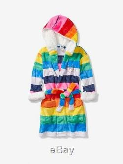 Vs Victorias Secret Pink Sherpa Lined Plush Cozy Robe Rainbow Print Xs/s