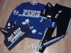 Womens Victorias Secret Pink Sz S M Crew, Bra, Panty, Ultimate Leggings Blue