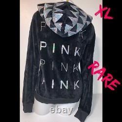 XL RARE Vintage Victoria Secret PINK Bling Sequin Fashion Show Hoodie Jacket