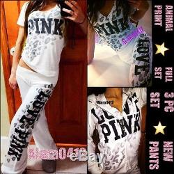 Xs/s Victoria's Secret Pink White Leopard Cheetah Print Sweatpants Hoodie Shirt